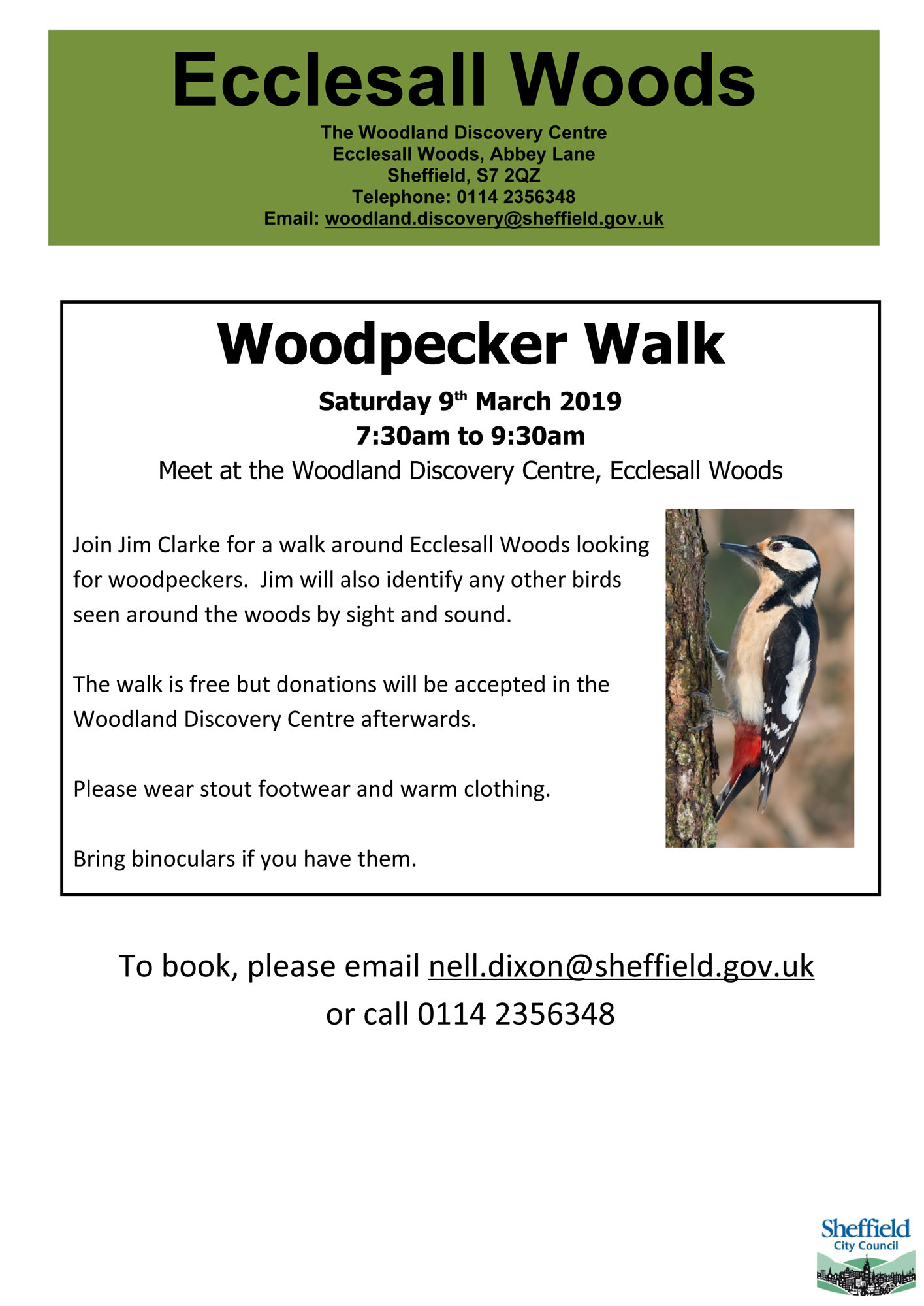 Woodpecker walk on Saturday 9th March