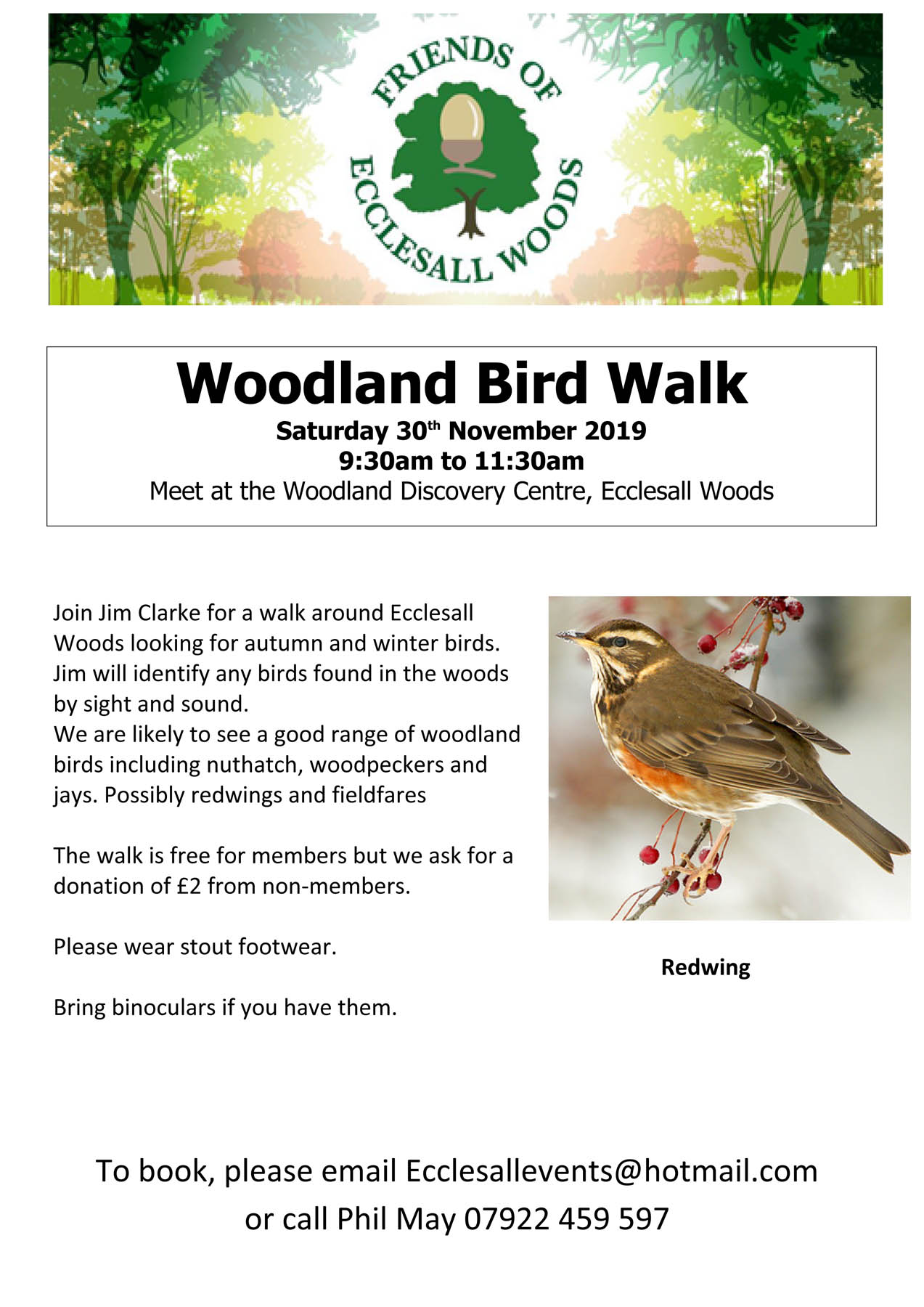 Postponed: bird walk Saturday 23rd – now Saturday 30th November
